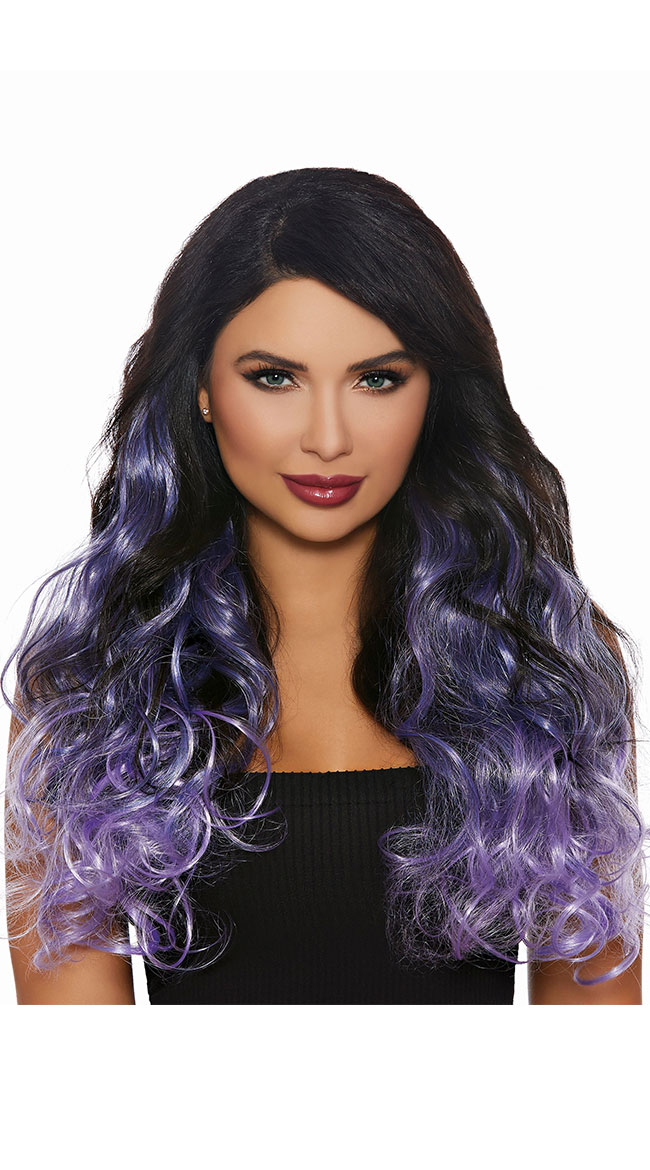 Black and Purple Wavy Extensions by Dreamgirl - sexy lingerie