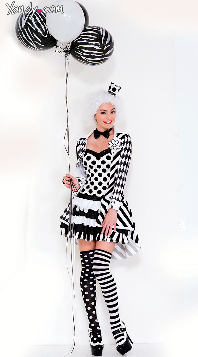 Black and White Clown Costume by Music Legs