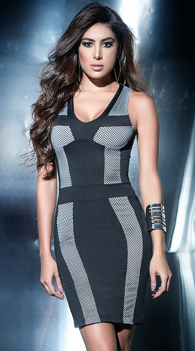 Black and White Netted Dress by Mapale
