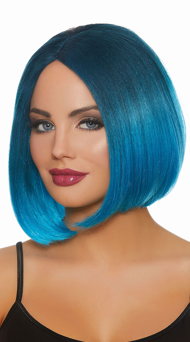 Blue Ombre Bob Wig by Dreamgirl - sexy lingerie