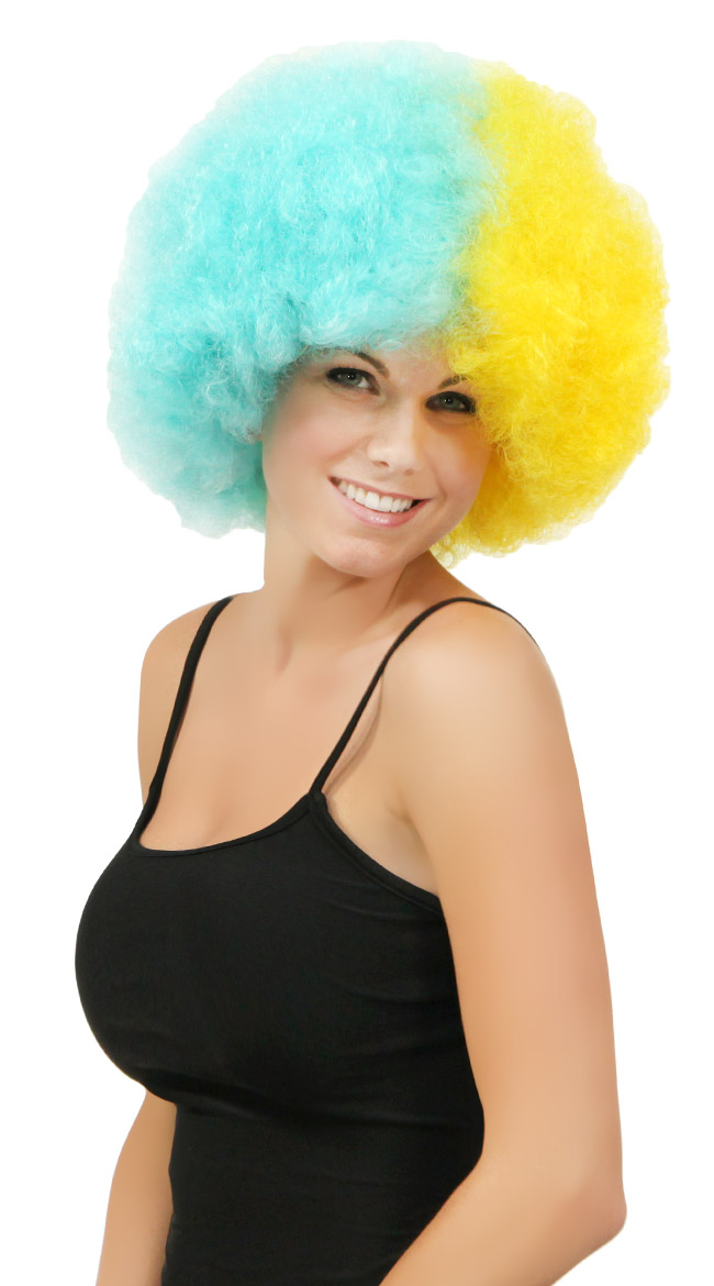 Blue and Yellow Two Tone Afro Wig by West Bay
