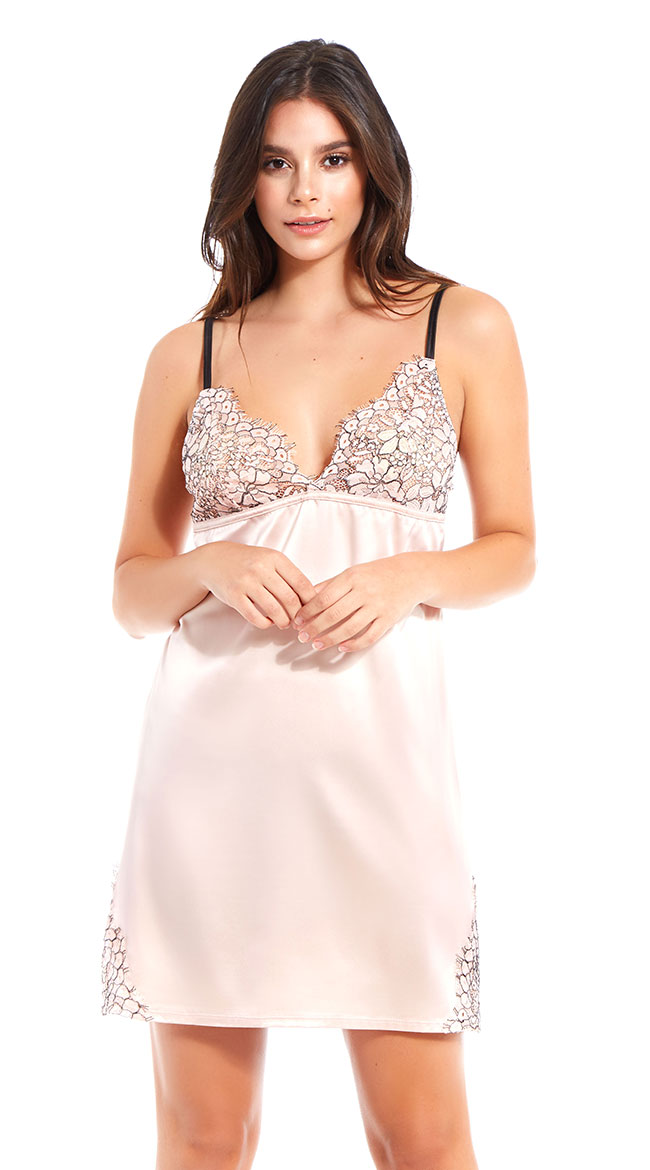 Blushing Blooms Satin Chemise by iCollection