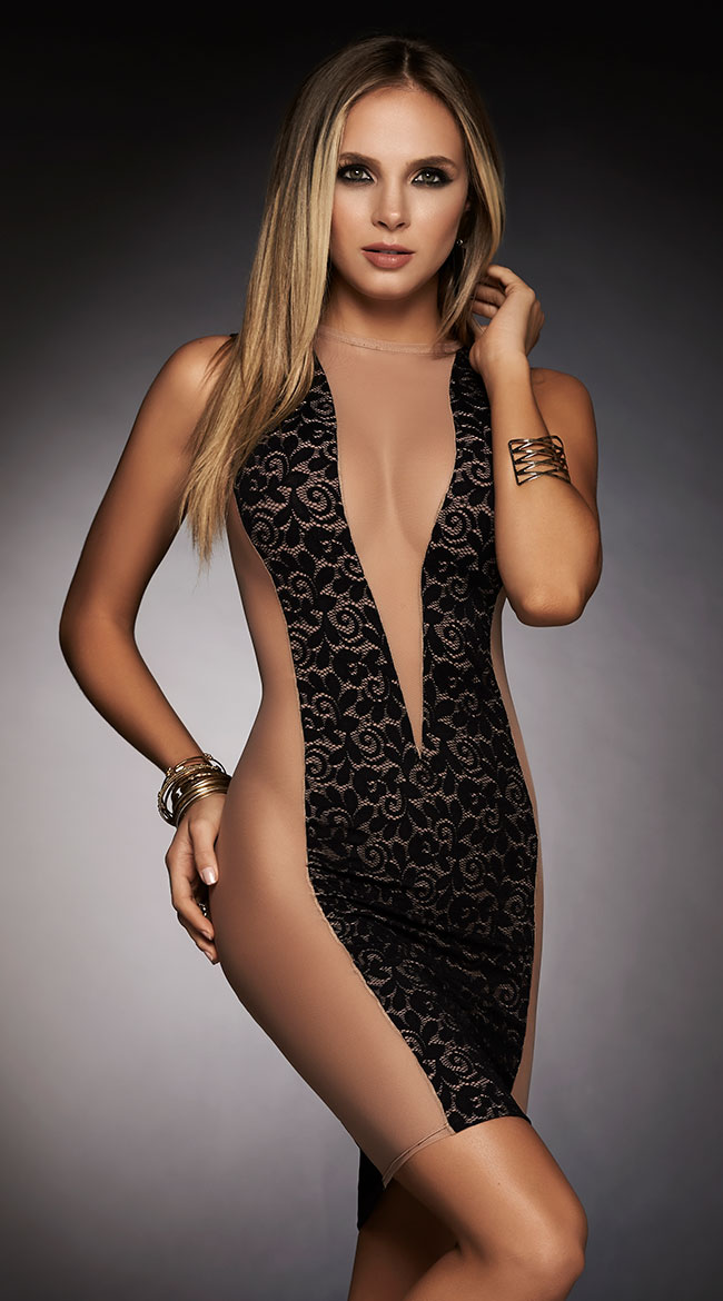 Bold Nude and Black Mini Dress by Mapale