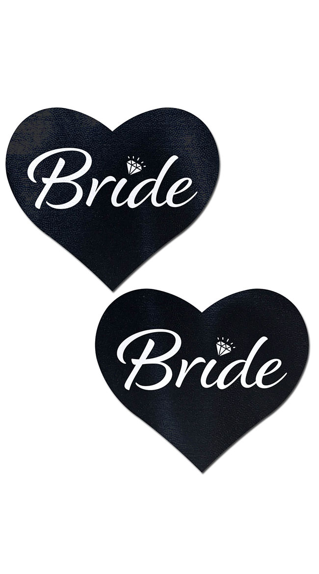 Bride Heart Black Nipple Pasties by Pastease - sexy lingerie