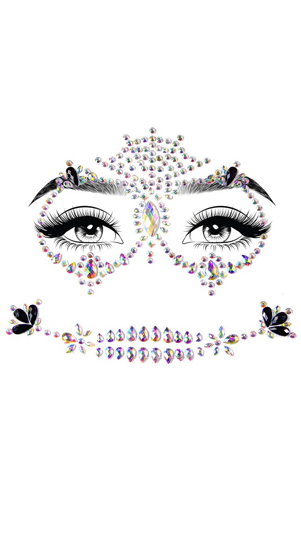 Calavera Adhesive Face Jewels by Leg Avenue