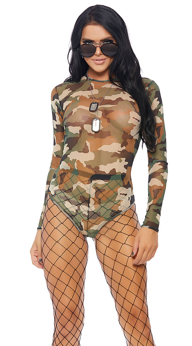 Camo Mesh Long Sleeve Bodysuit by Forplay