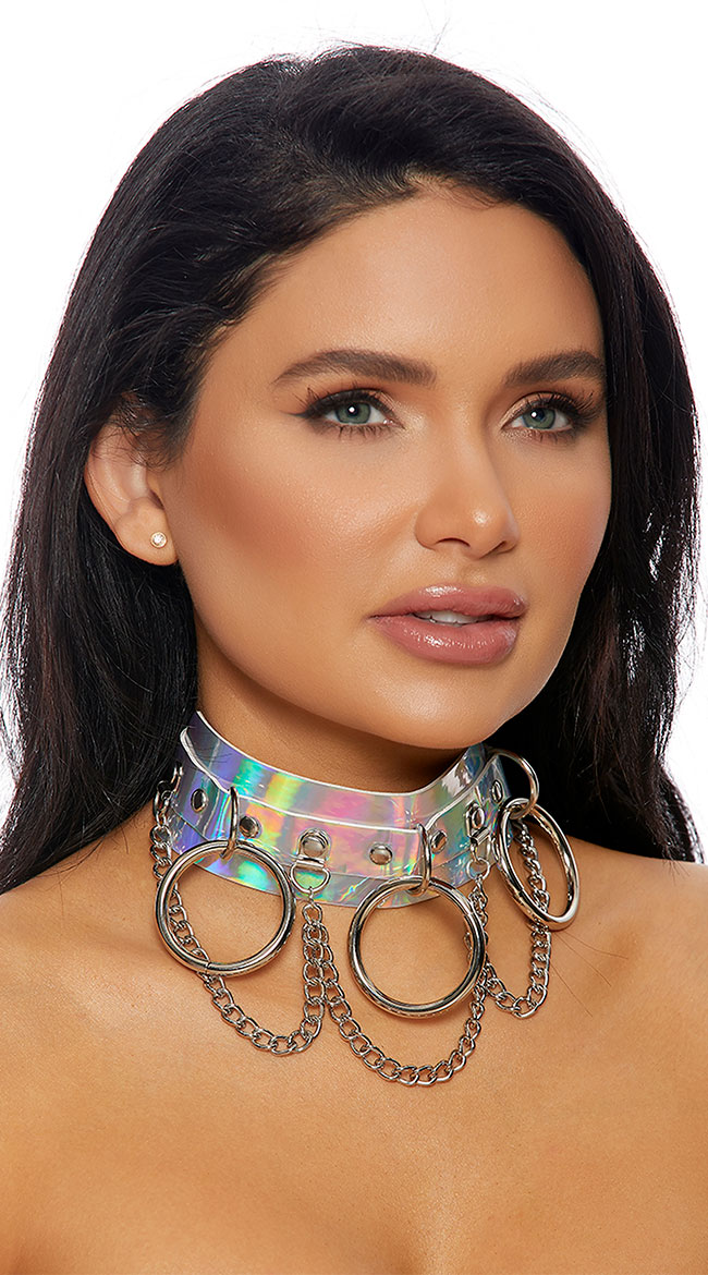 Chain Ring Hologram Choker by Forplay