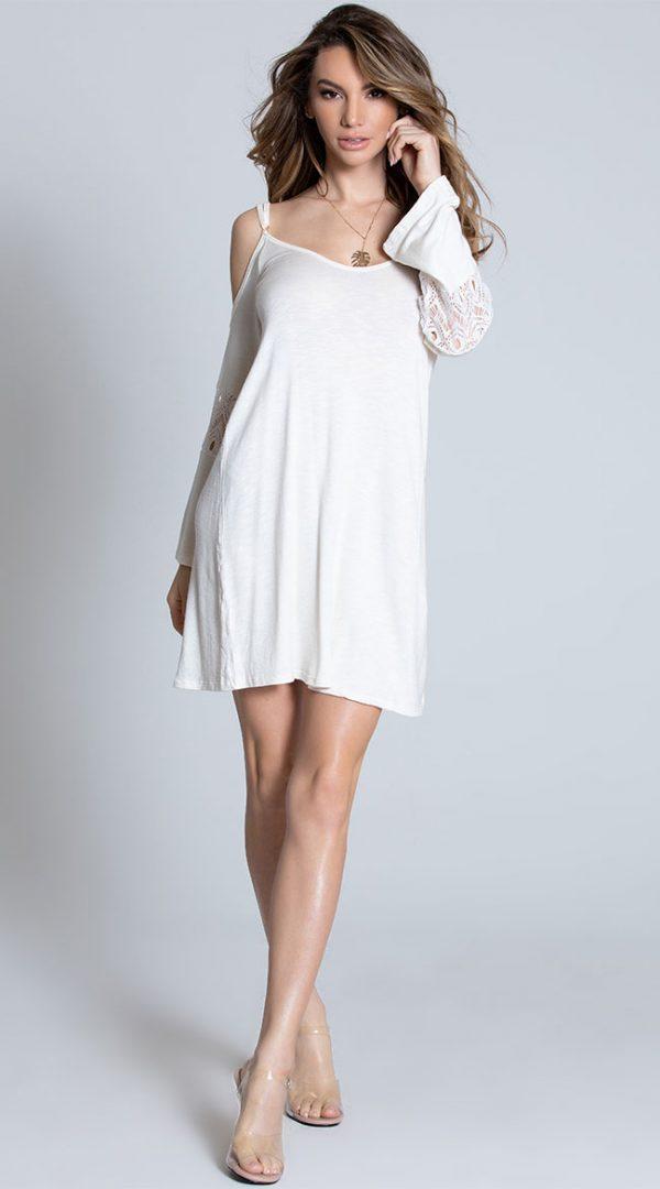 Cold Shoulder Ivory Dress by Mapale
