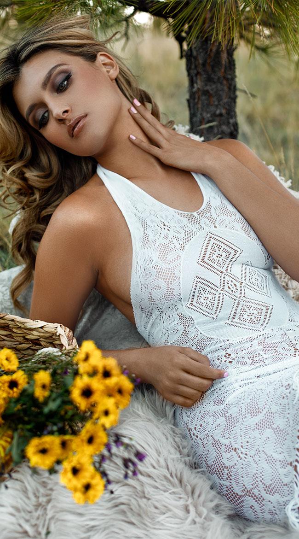 Crochet and Fringe Mini Dress by Elegant Moments