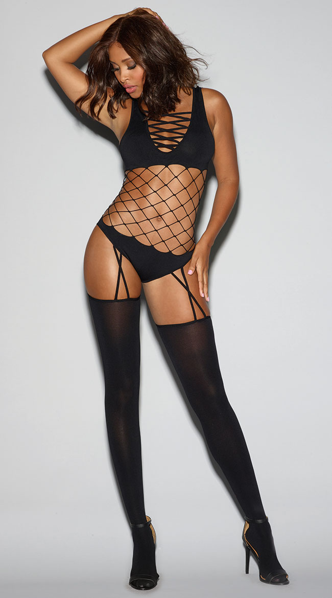 Cross My Heart Black Bodystocking by Dreamgirl - sexy lingerie