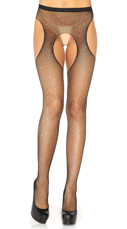 Crystalized Fishnet Suspender Pantyhose by Leg Avenue