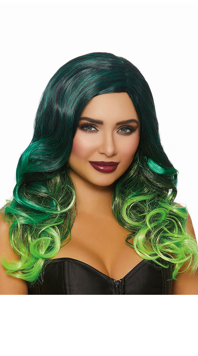 Curly Green Ombre Wig by Dreamgirl - sexy lingerie