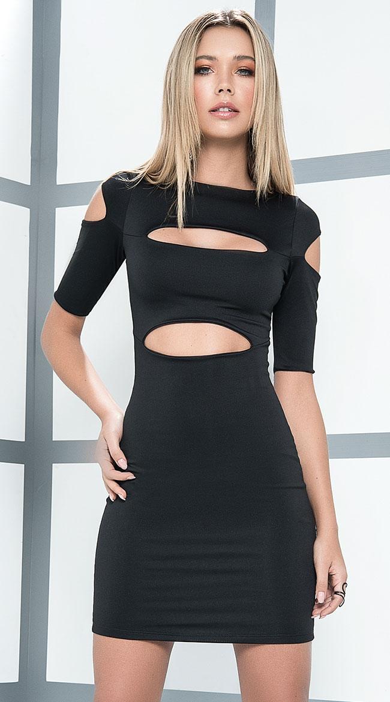 Cut Corners Black Dress by Mapale