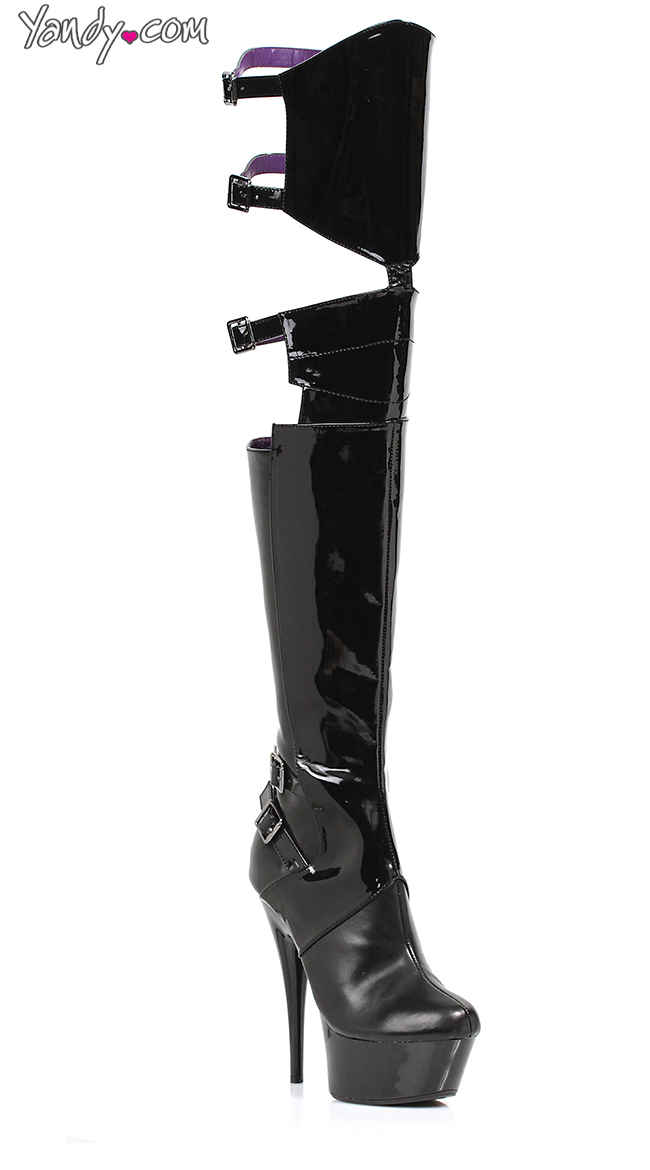 Cut Out Thigh High Buckle Boots by Ellie Shoes