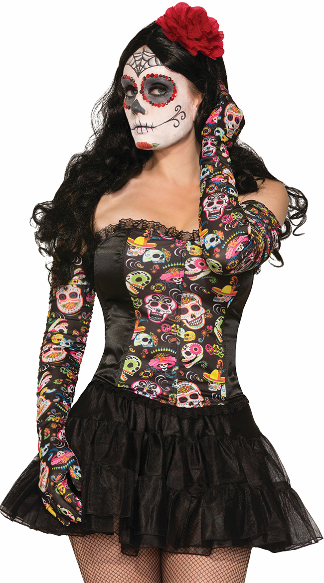 Day of the Dead Ruched Gloves by Forum Novelties / Sugar Skull Gloves