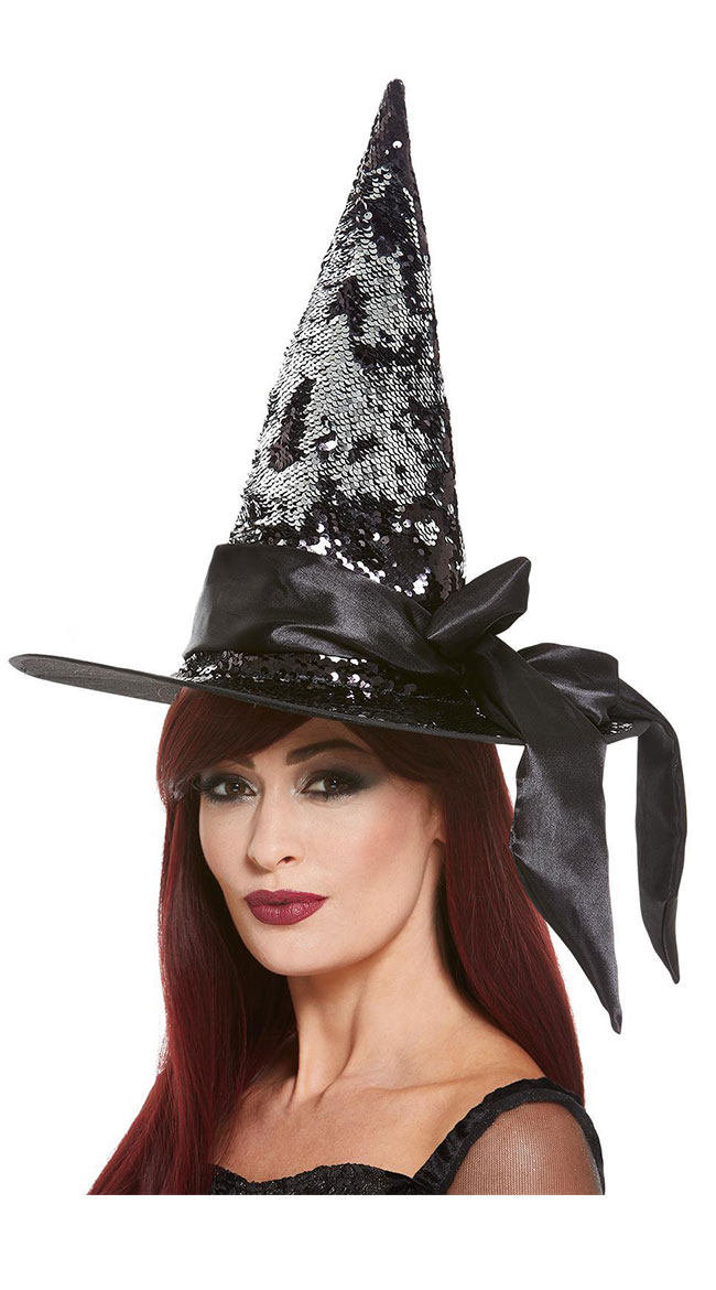 Deluxe Reversible Sequin Witch Hat by Fever