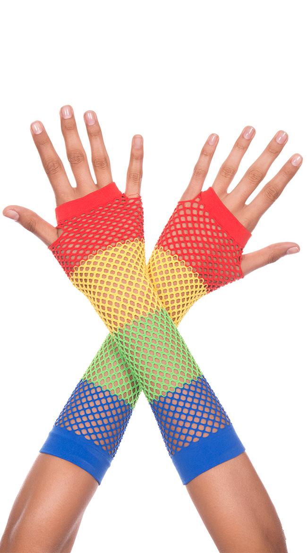 Diamond Net Fingerless Gloves by Music Legs