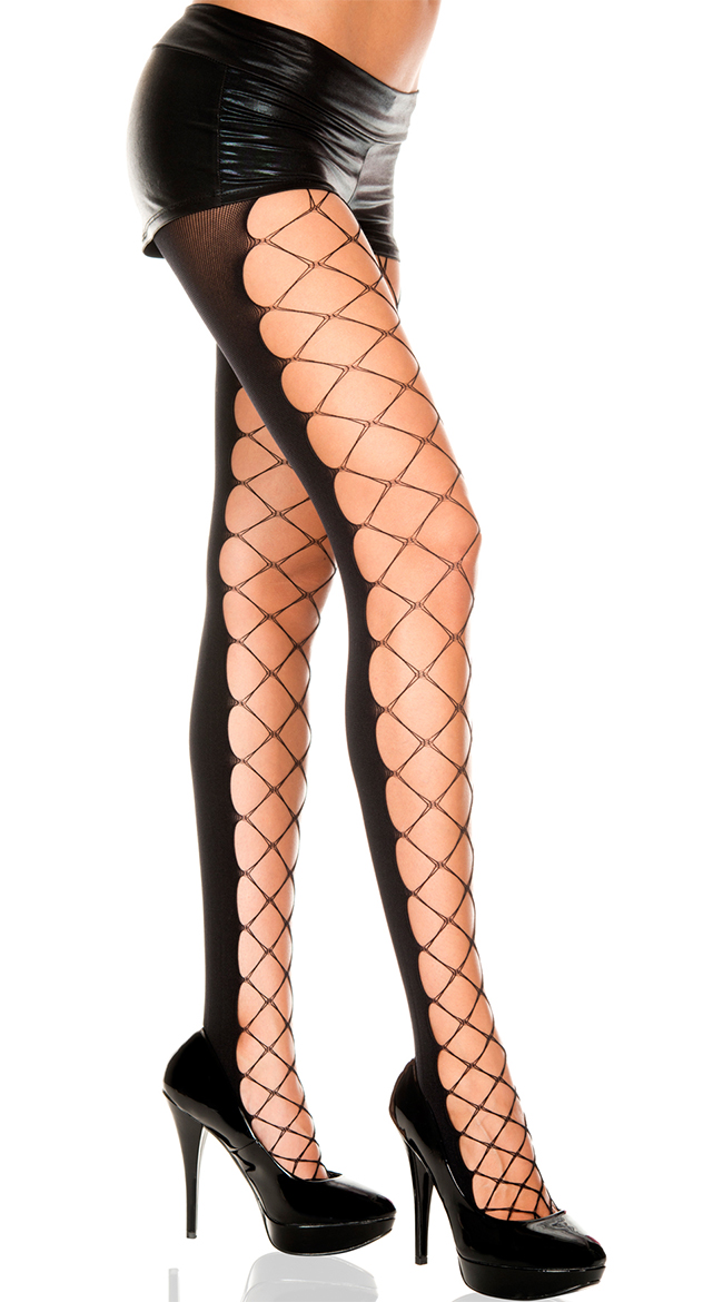 Diamond Net and Opaque Pantyhose by Music Legs