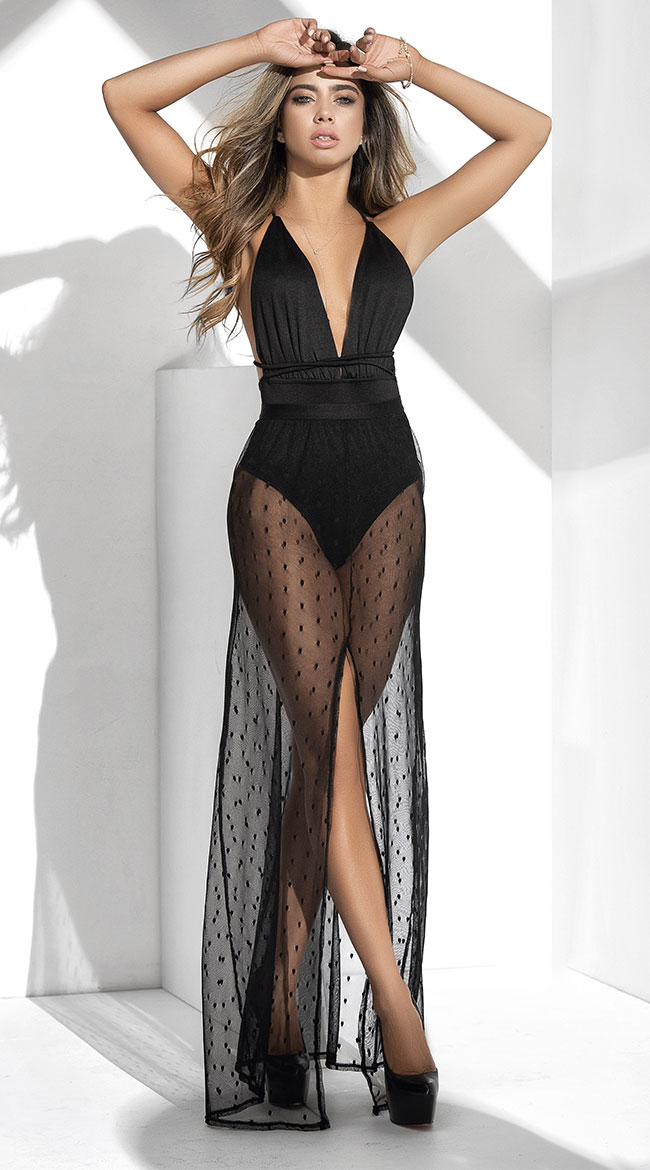 Dotted Mesh Bodysuit Gown by Mapale