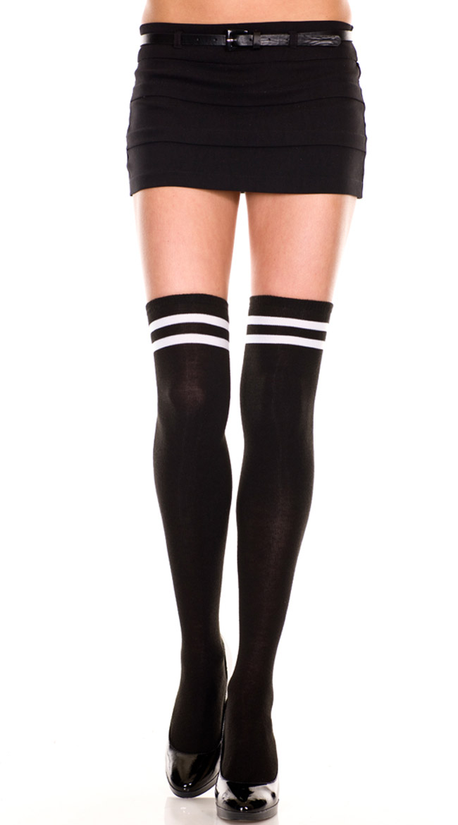 Double Striped Thigh High by Music Legs