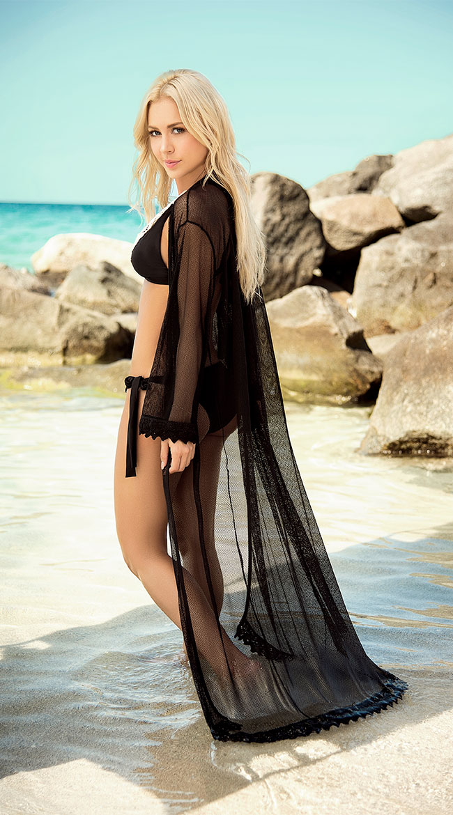 Draping Crochet Kimono Cover-Up by Mapale