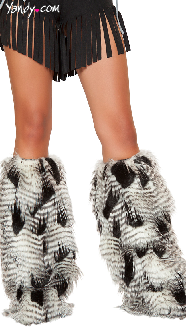Faux Feather Look Legwarmers by Roma - sexy lingerie