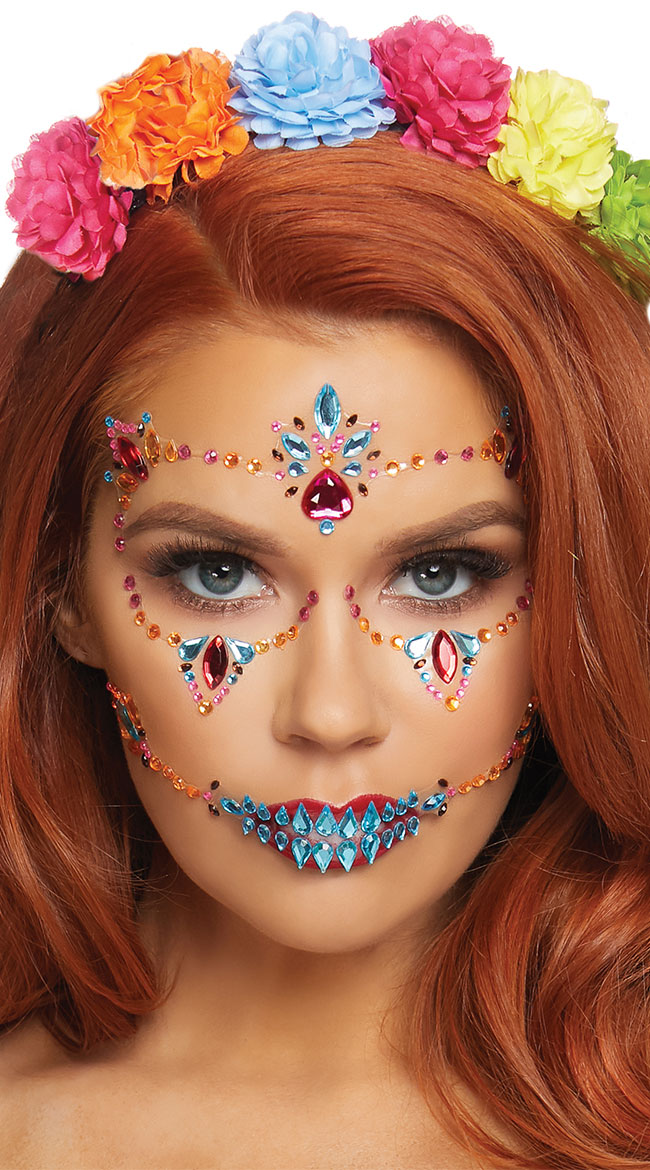 Fiesta Adhesive Face Jewels by Leg Avenue