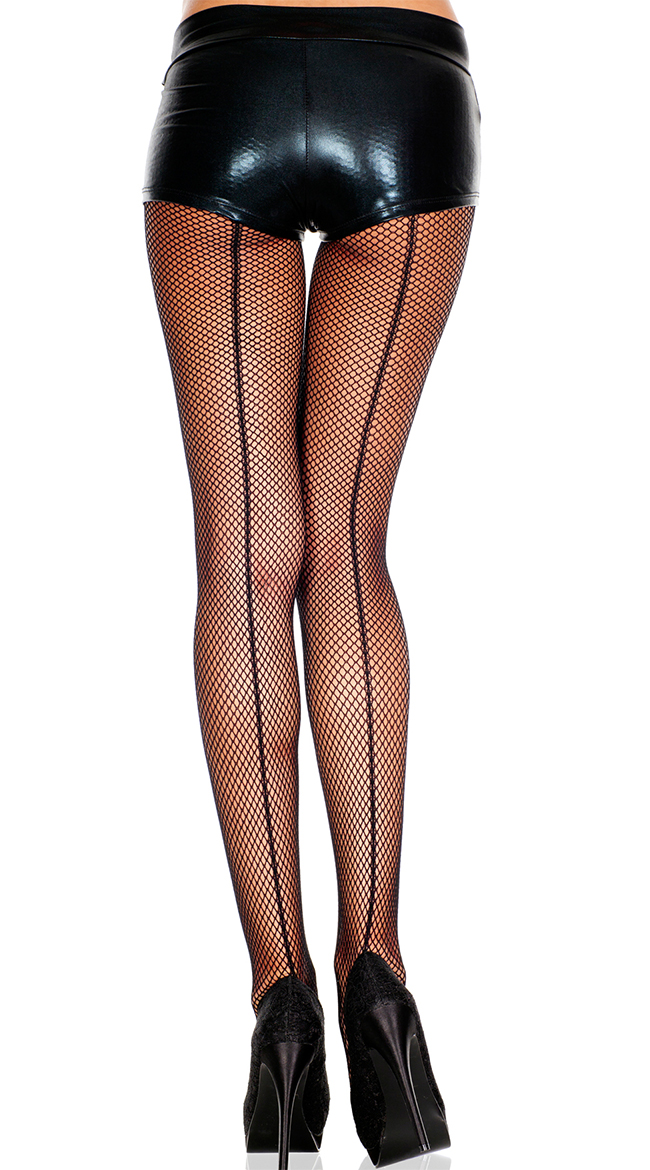 Fishnet Pantyhose With Backseam by Music Legs