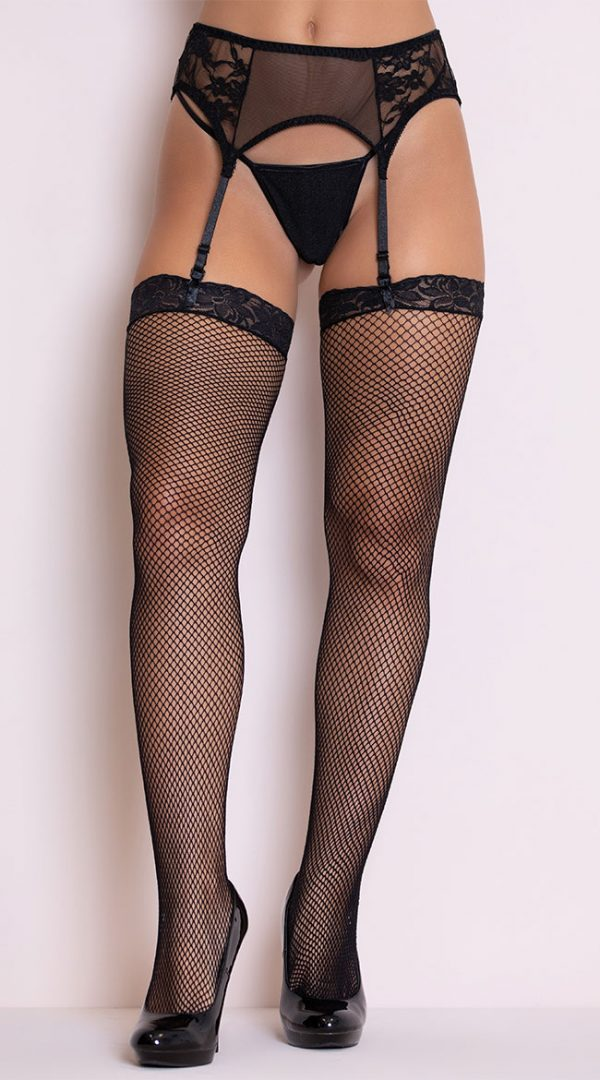 Fishnet Thigh High with Lace Top by Elegant Moments