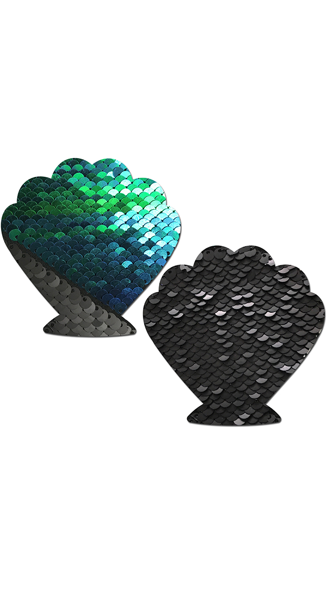 Flip Sequin Opal and Black Seashell Pasties by Pastease