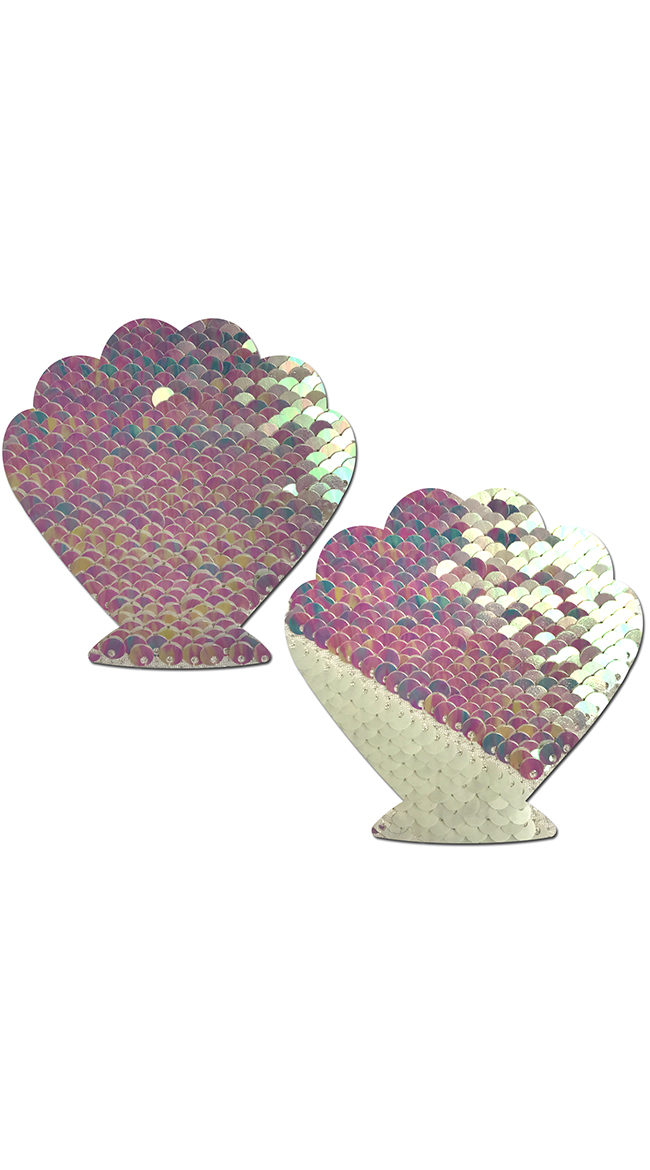 Flip Sequin Pearl and White Seashell Pasties by Pastease