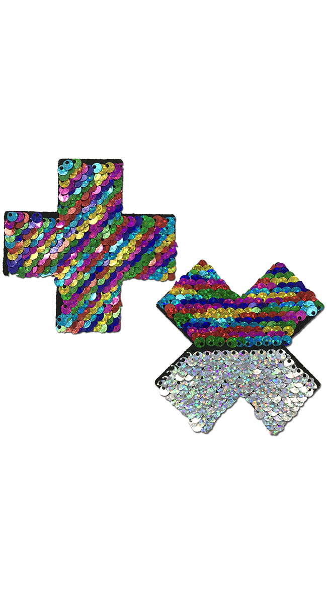 Flip Sequin Rainbow and Silver Cross Pasties by Pastease