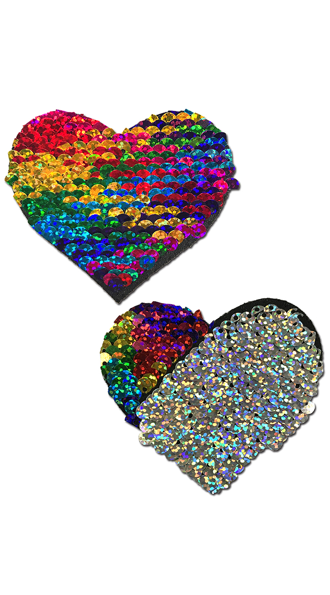Flip Sequin Rainbow and Silver Heart Pasties by Pastease