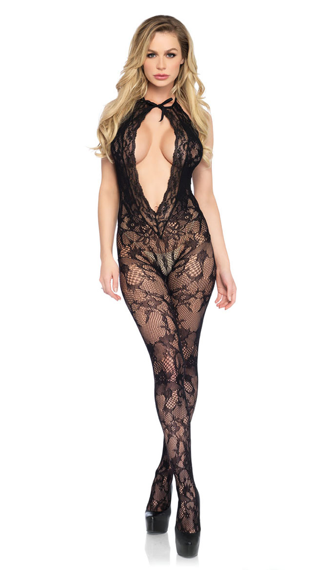 Floral Lace Keyhole Bodystocking by Leg Avenue
