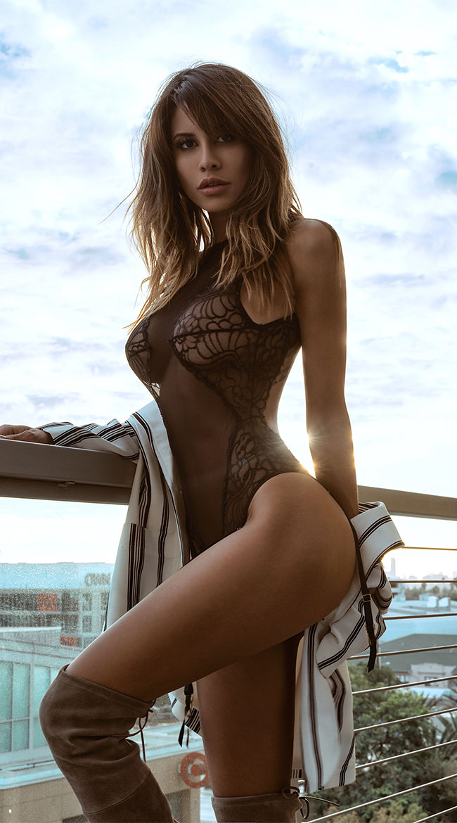Gartered Mesh and Lace Teddy by Yandy STM