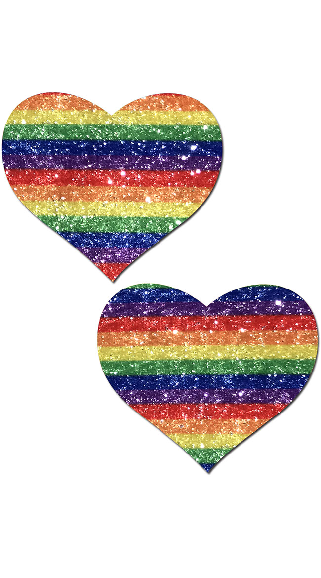 Glittering Double Rainbow Heart Pasties by Pastease - sexy lingerie