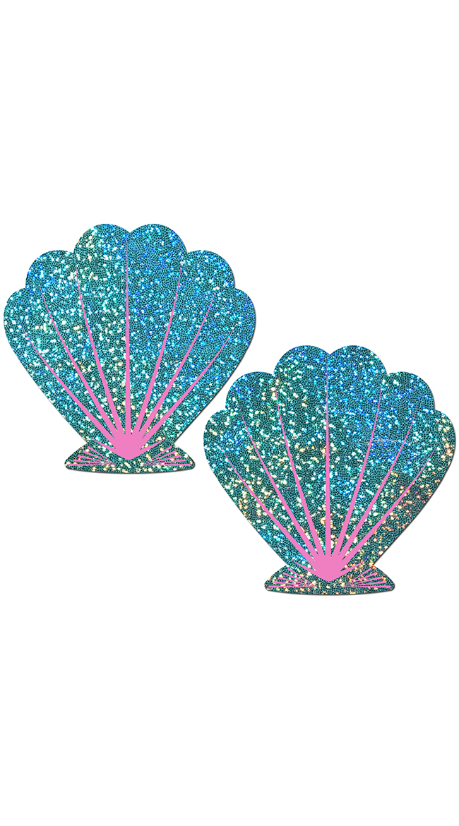 Glittery Green and Pink Seashell Pasties by Pastease