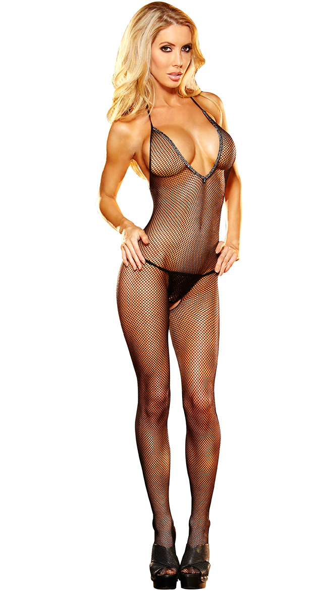 Halter V-Neck Fishnet Bodystocking with Open Crotch by XGEN Products