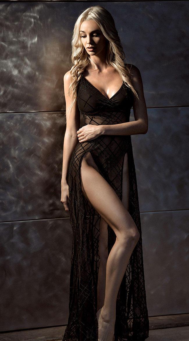 High Slits Sheer Gown by Roma