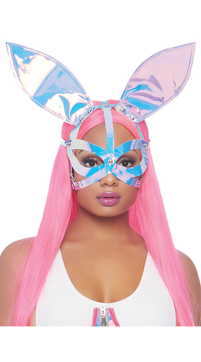 Holographic Bunny Ear Mask by Leg Avenue - sexy lingerie