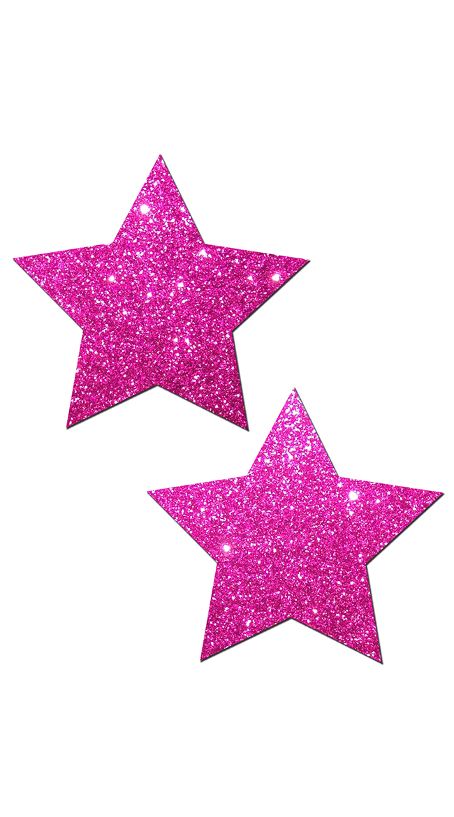Hot Pink Glittering Star Pasties by Pastease / Pink Star Nipple Pasties