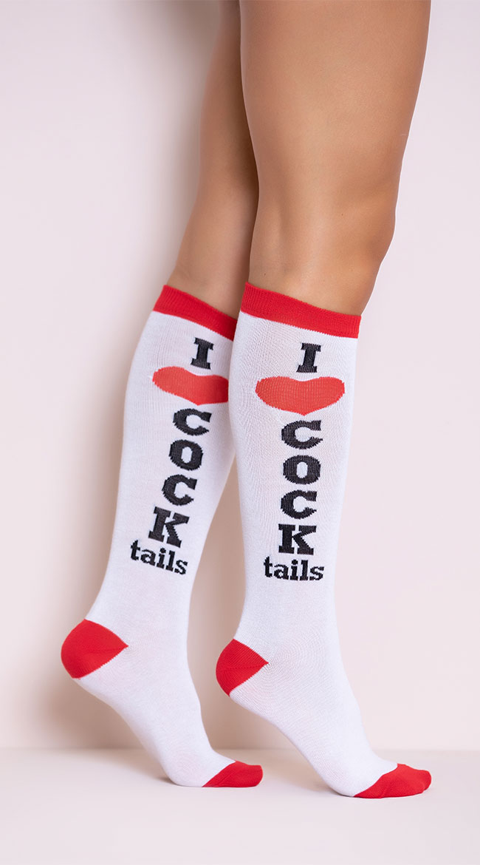 I Love Cocktails Knee High Socks by Leg Avenue
