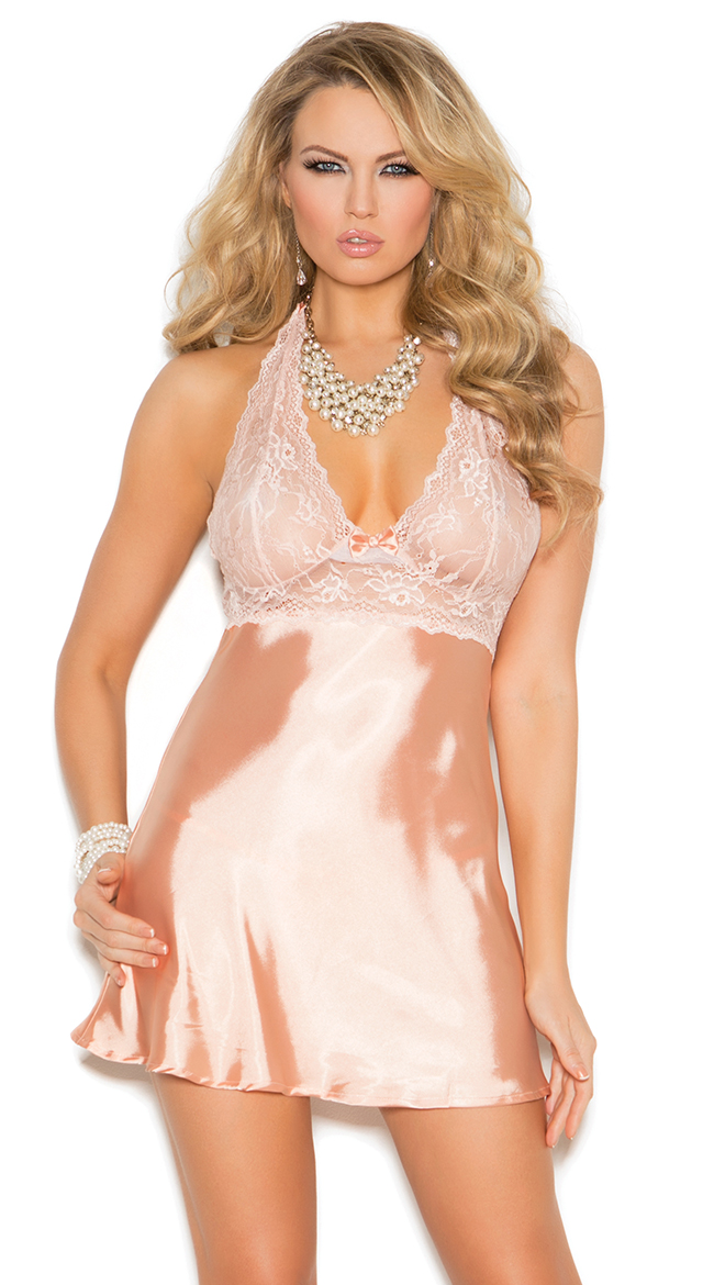 Just Peachy Satin and Lace Babydoll Set by Elegant Moments