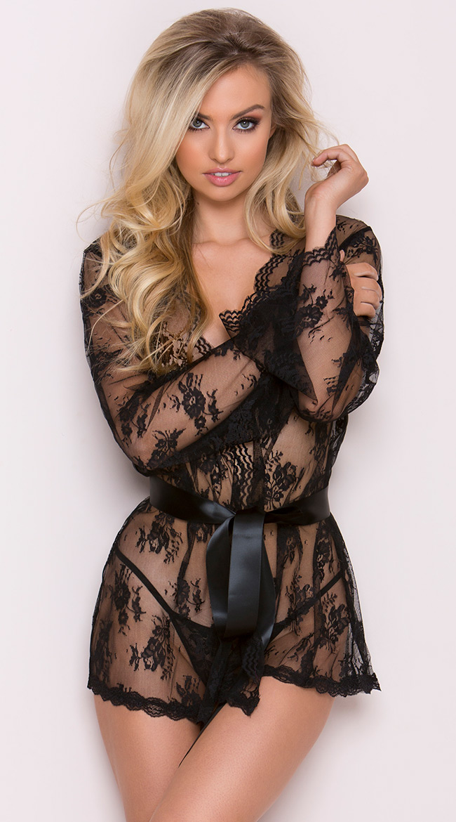 Lace Robe with Butterfly Sleeves by iCollection