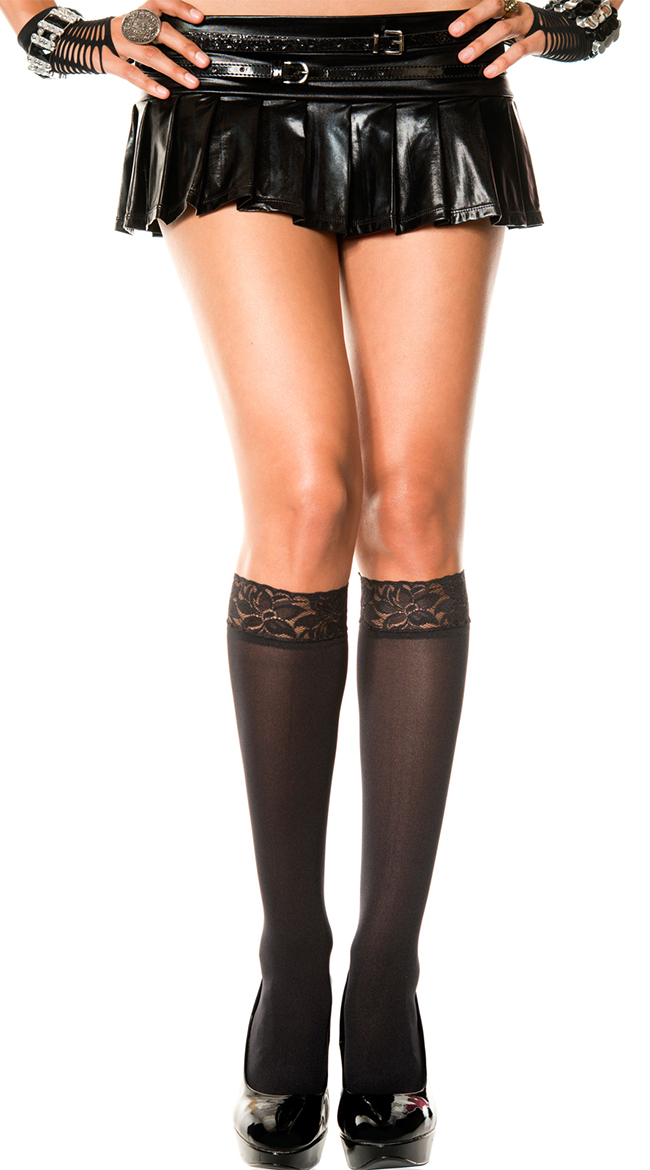 Lace Top Knee Highs by Music Legs