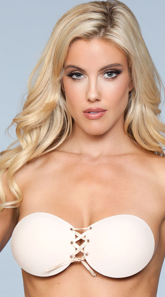 Lace-Up Backless Adhesive Bra by Be Wicked