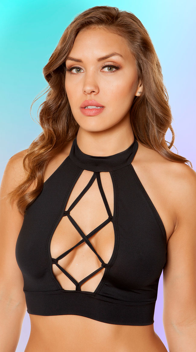 Lace-Up Crop Top by Roma