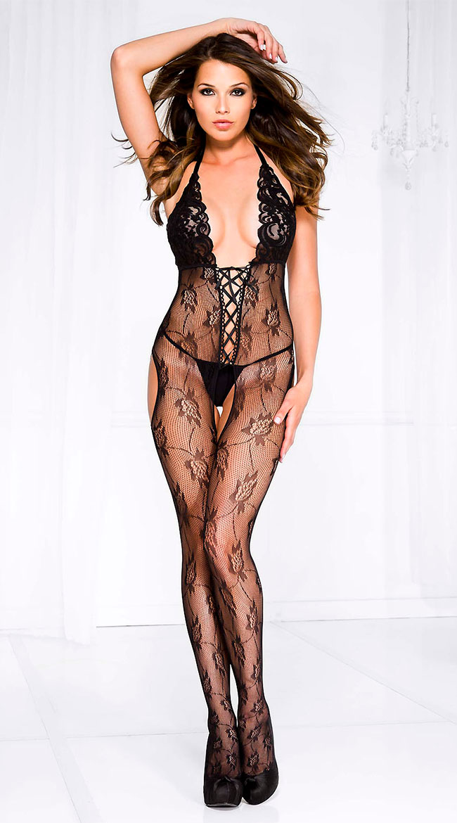 Lace-Up Floral Bodystocking by Music Legs