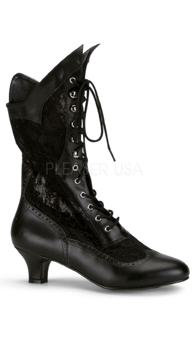 Lace Victorian Ankle Boot by Pleaser