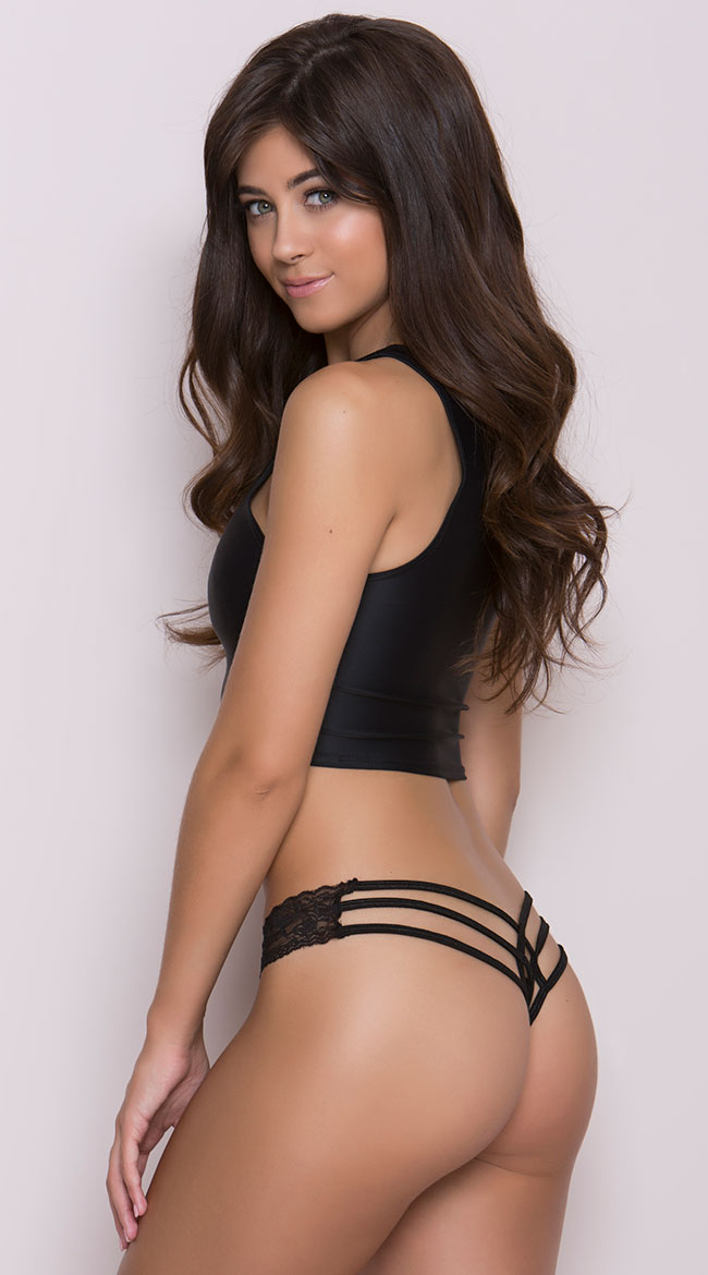 Lace and Lycra Thong by Coquette